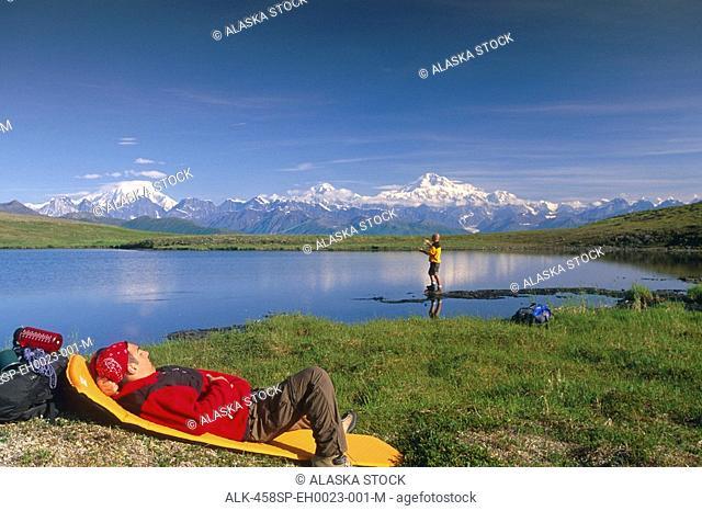 Hikers Rest & Fish @ Tundra Pond Denali SP SC Alaska Summer w/Mt Mckinley