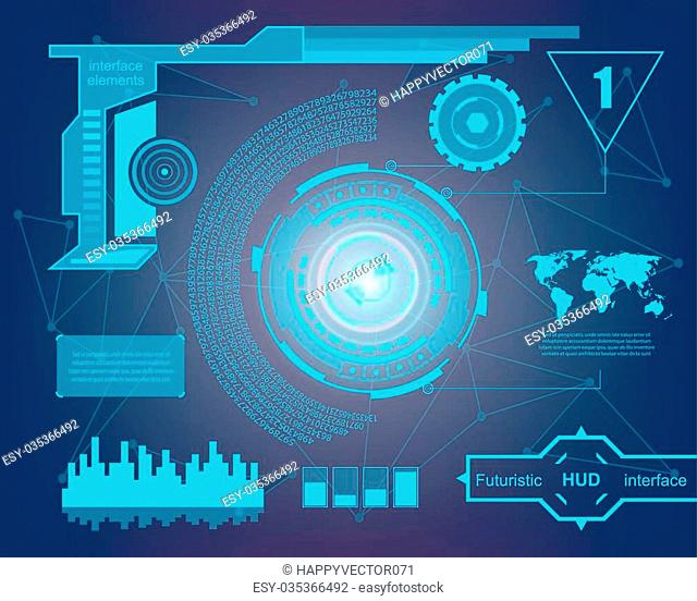 Abstract future, concept vector futuristic virtual graphic touch user interface HUD. For web, site, mobile applications isolated on black background, techno
