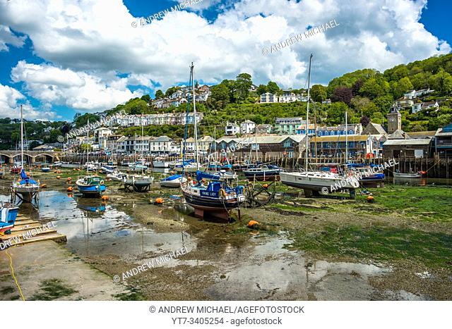 The small coastal town of Looe with hillside houses and a beach. Cornwall, UK