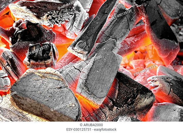 Glowing Hot Charcoal In Fireplace Background Texture Close-up