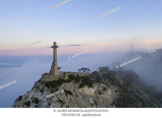 Aerial image of the Cross of Sanctuary of San Salvador located in Felanitx, Mallorca