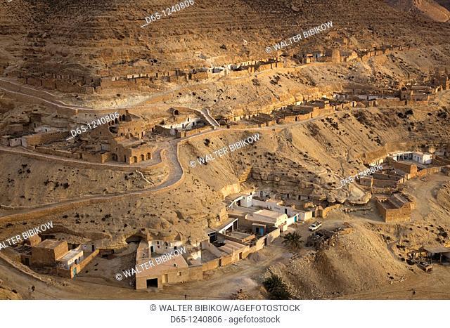Tunisia, Ksour Area, Chenini, Berber village landscape, dusk