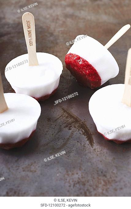Vegan coconut milk & strawberry ice lollies