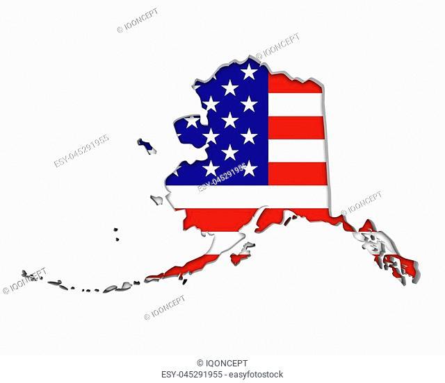 Alaska AK USA Flag Stars Stripes Map 3d Illustration