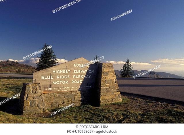 NC, North Carolina, Highest elevation on the Blue Ridge Parkway (6053 feet), sign, mountains, fall