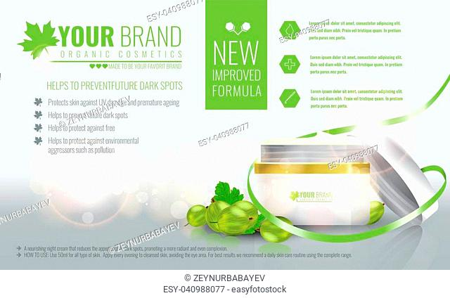 Vector illustration of Beautiful hydrating facial cream cosmetic ads on bubble background. Illustrated vector