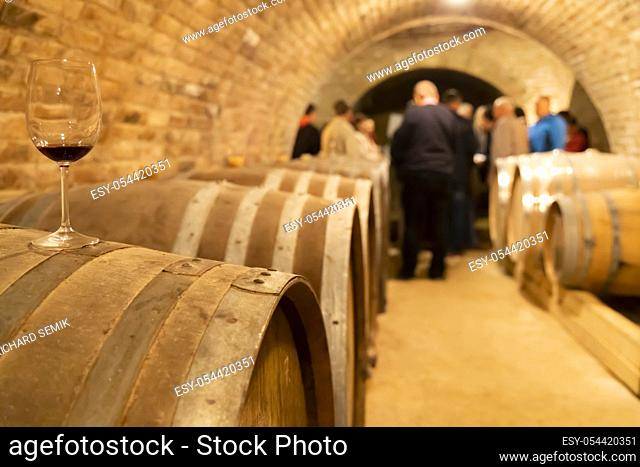 glasses of wine on barrel, Szekszard, Hungary