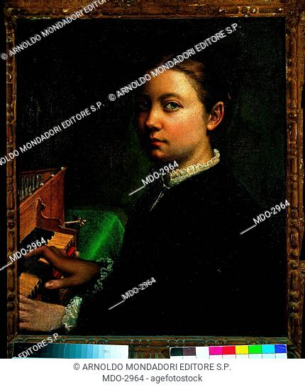 Self-Portrait at the spinet (Autoritratto alla spinetta), by Sofonisba Anguissola, 1555, 16th Century, oil on canvas