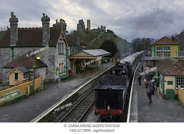 Corfe Castle, steam train, Dorset, England, United Kingdom