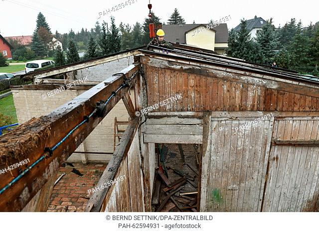 German soldiers dismantle historical POW barracks in Zeithain, Germany, 14 October 2015. The barrack type RL IV/3 of the Reich Labor Service was used 1941-1945...