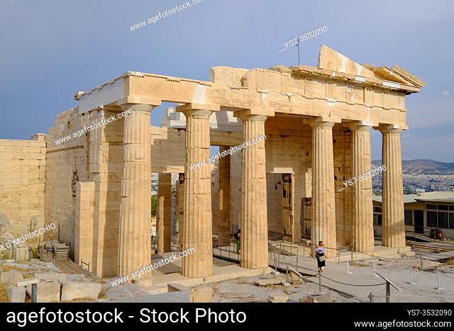 The Propylaea, the monumental gateway to the Acropolis of Athens, Greece, Europe