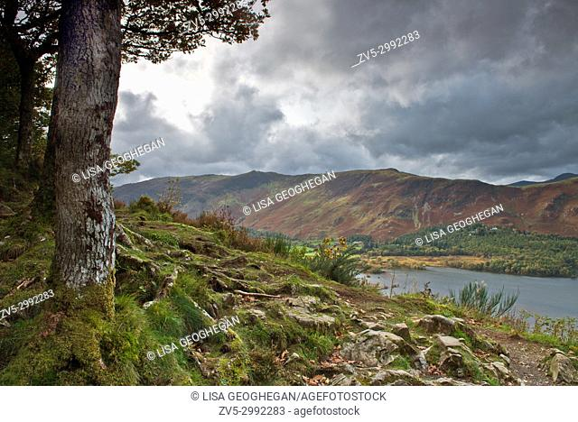 Derwent Water, Keswick and Skiddaw Fell from Surprise View, Lake District National Park, Cumbria, England, Uk