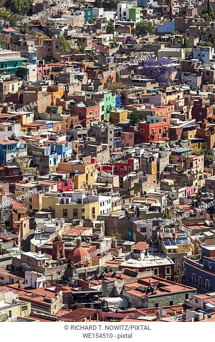 Pattern of colorful houses on the mountainside in Guanajuato, Mexico