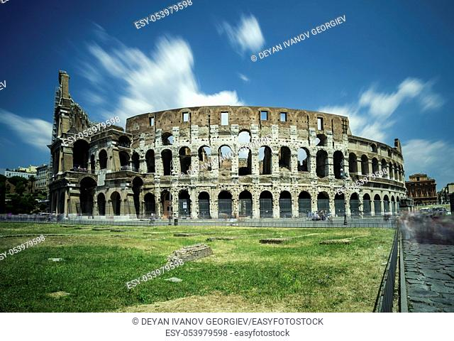 The Colosseum in Rome. Green grass