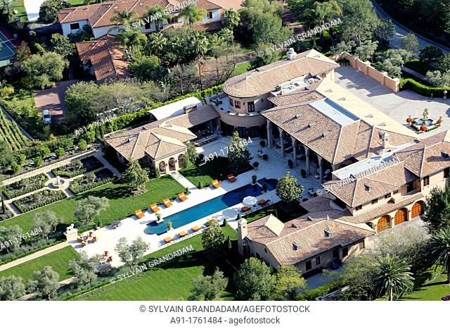 USA, California, city of Los Angeles, aerial photography of Hollywood Hills luxury houses