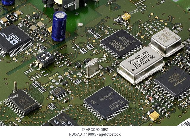 Technology Board card chip electronic circuit board close-up detail