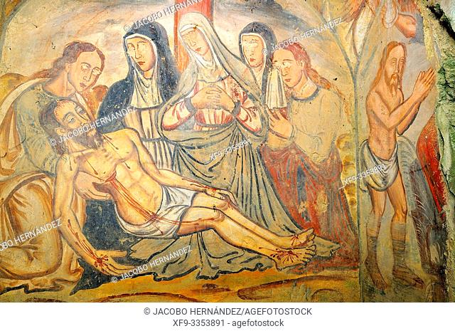 Mural painting of the Hermitage of San Jorge. Cáceres. Extremadura. Spain