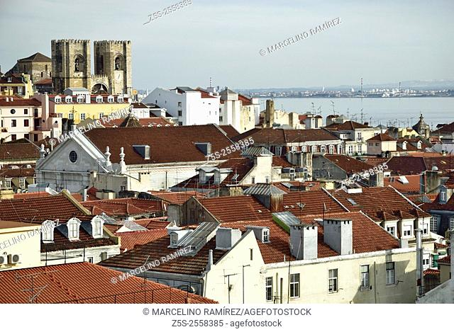 Lisbon, city skyline seen from Santa Justa elevador. Lisbon, Portugal. Europe