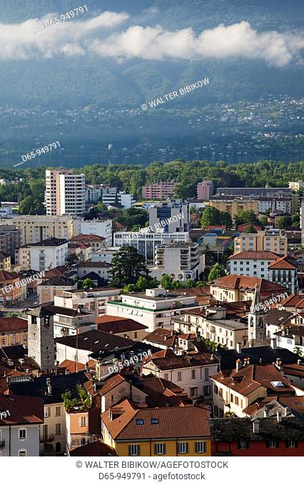 Switzerland, Ticino, Lake Maggiore, Locarno, high angle town view, morning