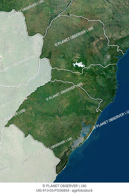 Satellite view of the South Region of Brazil (with administrative boundaries and mask). It is composed of the states of Parana
