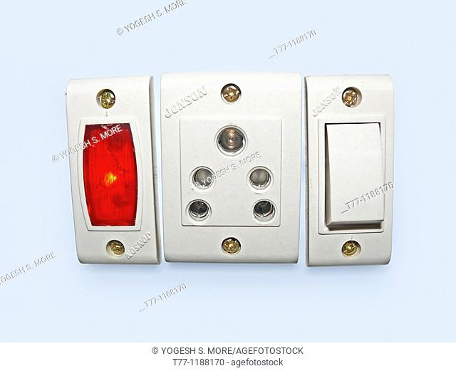 Switch board with On Off switches, 3 pin sockets