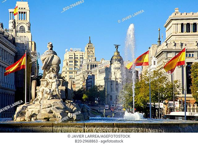 Calle de Alcalá, Plaza Cibeles, Madrid, Spain, Europe