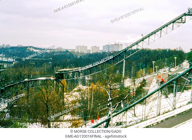 View facing east of the ski jump inside Sparrow Hills (formerly Stalin Hills) Park, located on a steep embankment above a bend in the Moscow River, in Moscow