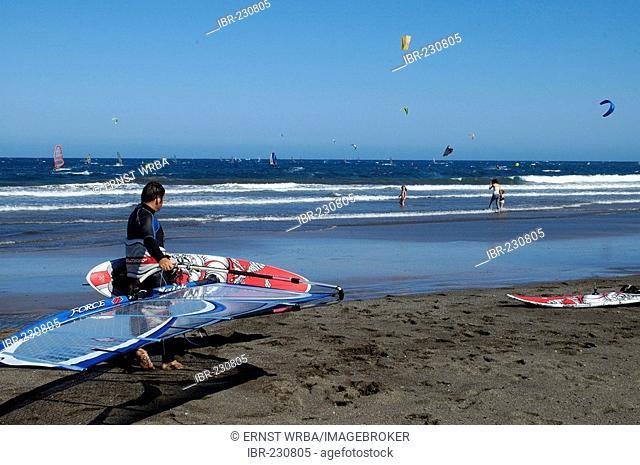 El Medano, beach with windsurfers and kitesurfers, Tenerife, Canary Islands, Spain