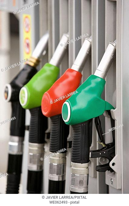 Gas pumps at gas station. Gipuzkoa, Euskadi. Spain