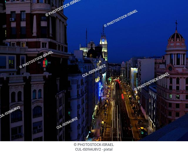 Elevated view of Gran Via illuminated at night, Madrid, Spain