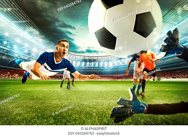 Soccer striker hits the ball with his head towards the net. 3D Rendering