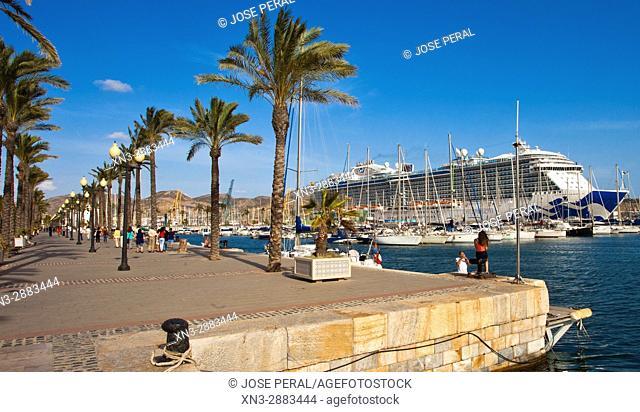 On background Cartagena cruise terminal, crucero Royal Princess, Harbour, Promenade, Mediterranean Sea Cartagena City, Murcia Region, Spain, Europe