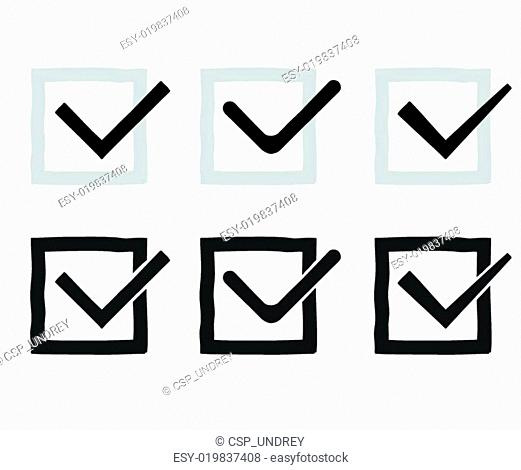 Hand drawn check marks or ticks confirm icons set confirmation acceptance positive passed voting agreement true completion tasks on a list vector illustration