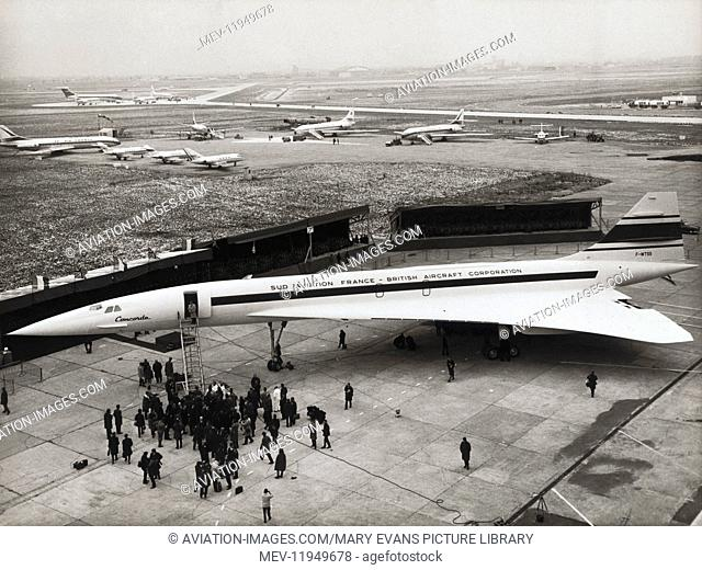 The First Concorde Prototype 001 Parked at Toulouse with Vc-10 Boac, Viscount, Falcon 20, Hs-125S and Caravelles Parked Behind