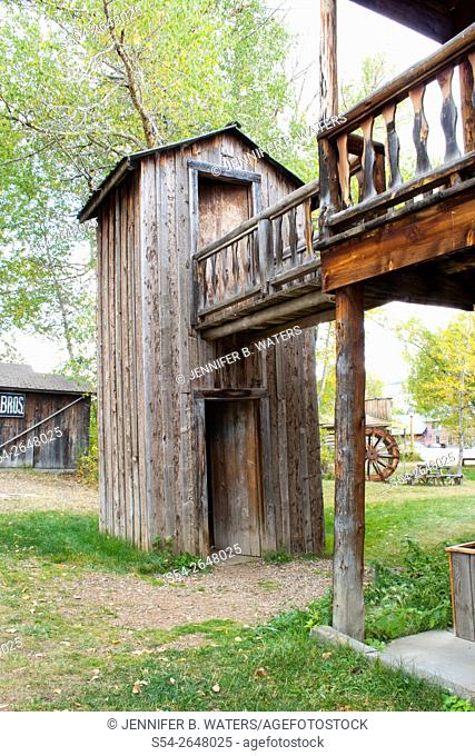 An outhouse in Nevada City, Montana, a reconstructed ghost town, USA
