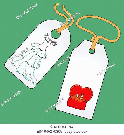 Label, badge, price tag with the image of fashionable things.Fashion set of bride. Illustration in hand drawing style