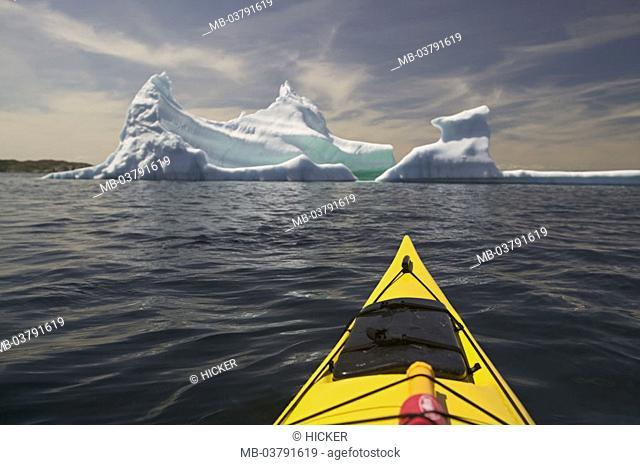 Canada, Newfoundland, Kittiwake Coast,  Sea, iceberg, kayak, detail,  North America, Atlantic, Atlantic ocean, nature, sight, ice, swims, drives, nature drama