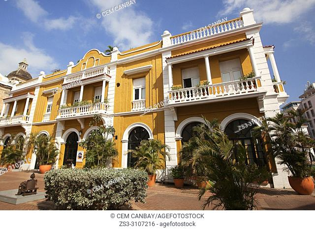 View to the colonial building with balconies at Plaza de San Pedro in the historic center, Cartagena de Indias, Bolivar Region, Colombia, South America