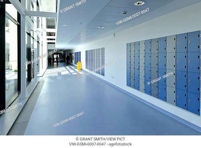 Strood Academy, Strood, United Kingdom. Architect: Nicholas Hare Architects LLP, 2012. Interior showing circulation space between classrooms showing lockers
