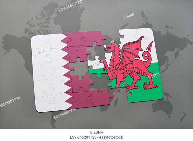 puzzle with the national flag of qatar and wales on a world map background. 3D illustration
