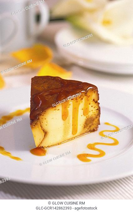 Close-up of caramel custard on a plate