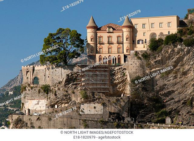 Italy, Campania, Amalfi Coast, Maiori  Castle-like home on the cliffs overlooking the Tyrrhenian Sea
