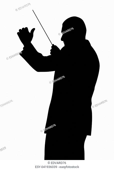 Illustration silhouette of a music conductor. Isolated white background. EPS file available