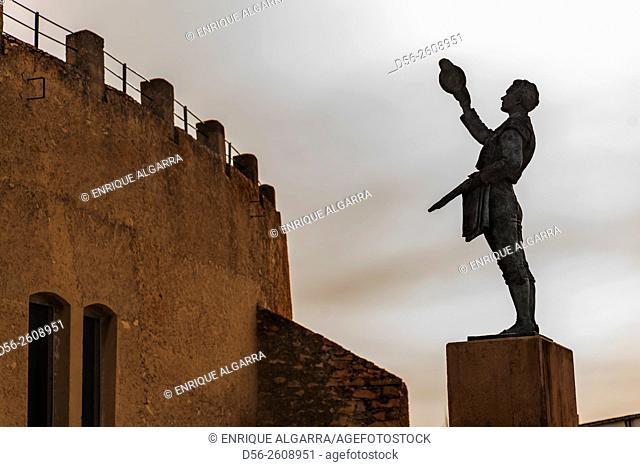 Bullring and statue of Silvino Zafón, Vilafranca del Cid, Castellon province, Spain