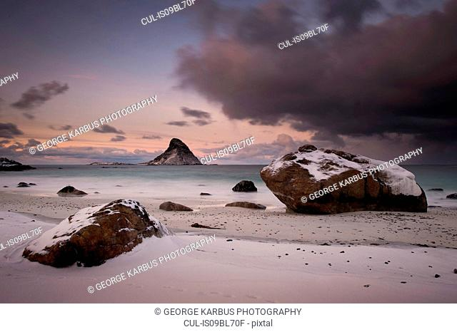 Winter sunset on Puffin Island, Andenes, Nordland, Norway