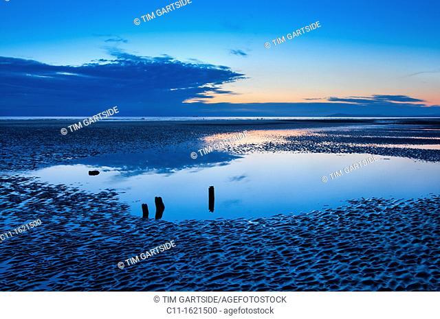 beach at sunset on fylde coast, cleveleys, lancashire,england,uk