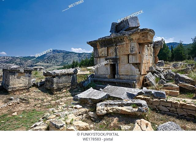"Picture of Tomb Tomb 114 """"tomb of curses"""" of the North Necropolis. Hierapolis archaeological site near Pamukkale in Turkey."