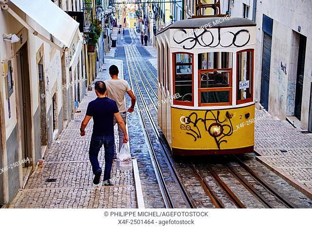 Portugal, Lisbon, Bica funicular in Bairro Alto area