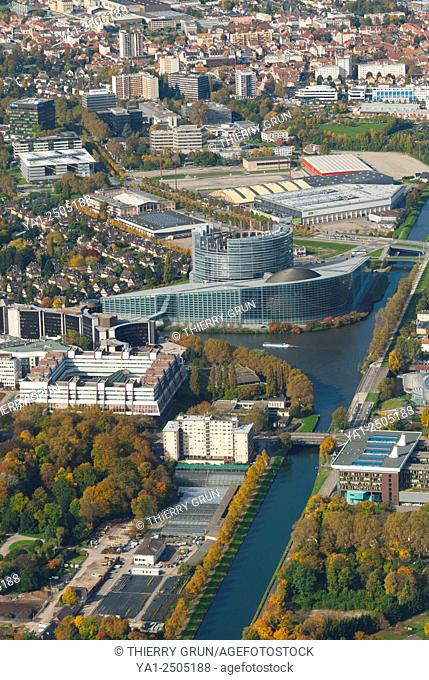 France, Bas Rhin 67, Strasbourg, European Instututions buildings, Palace of Europe and European parliament aerial view