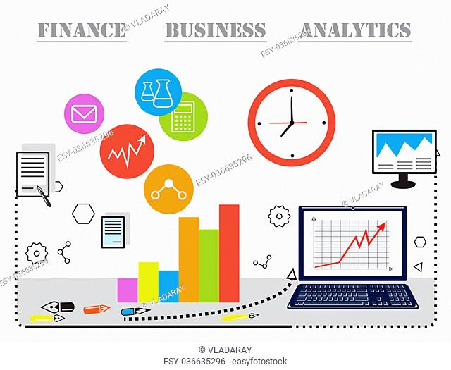 Modern vector business concept, analysis and finance. Flat line design vector illustration. Data analysis, statistics, financial research and strategy
